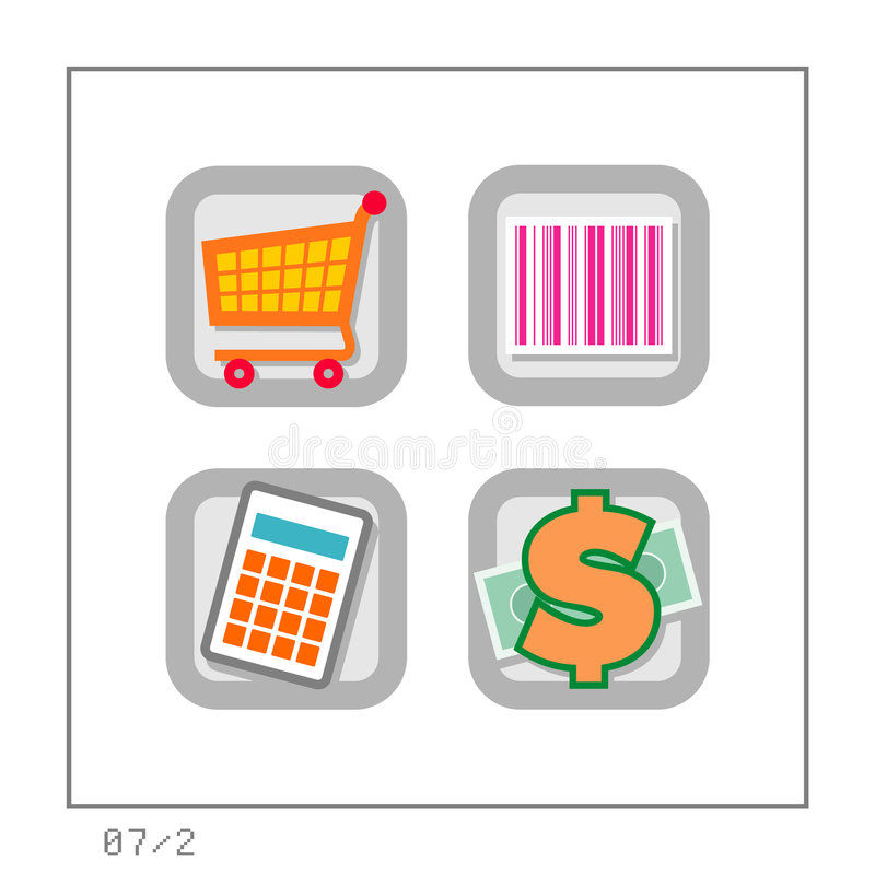 2 set shoppingversion för 07 symbol royaltyfri illustrationer