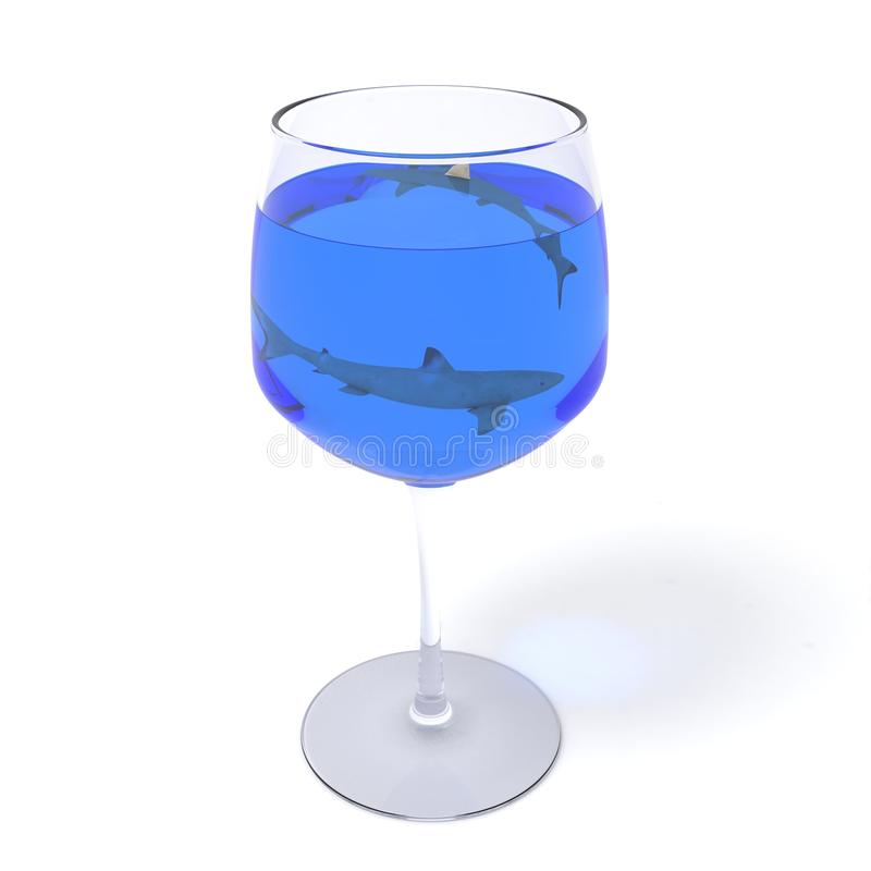 Free 2 Sharks In Wine Glass Royalty Free Stock Photography - 35975407