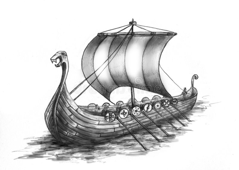 2 ship viking royaltyfri illustrationer