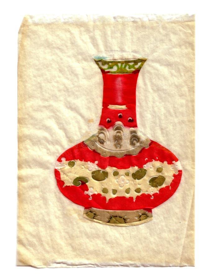 2 się orientalna wazę papierowej ilustracji