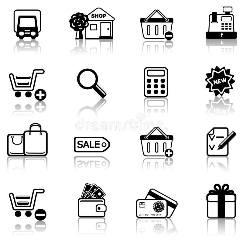 2 som shoppar vektor illustrationer