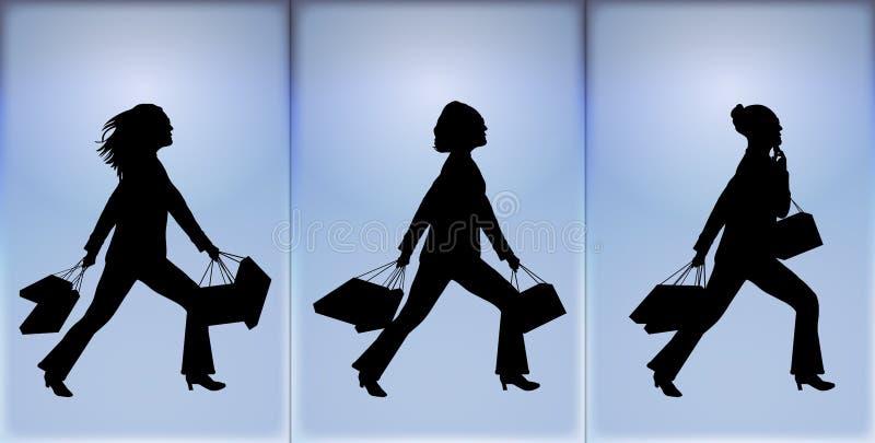 2 som shoppar royaltyfri illustrationer