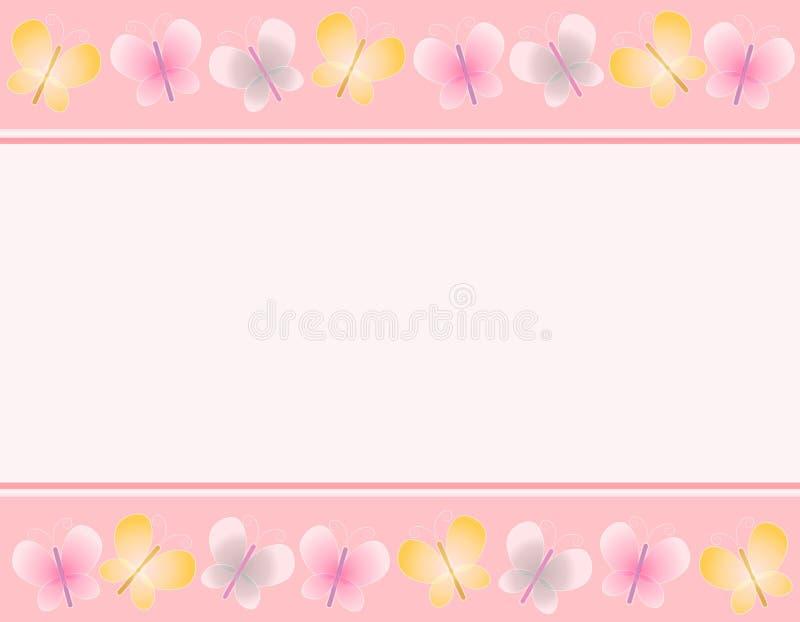 2 stronach granic różowego motylia wiosna ilustracja wektor