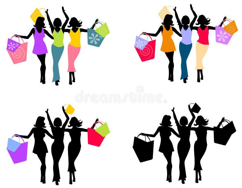 2 sylwetki kobiety robią zakupy ilustracja wektor