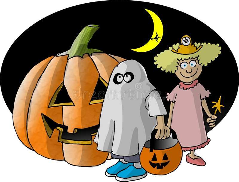 Download 2 Trick Or Treaters And A Big Pumpkin Stock Illustration - Image: 30727