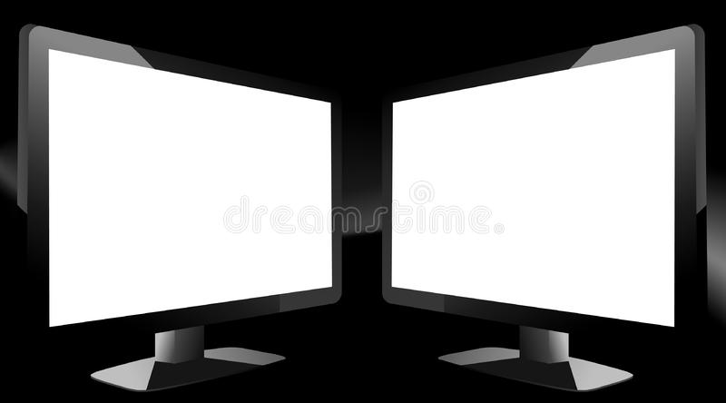 2 TV's on black background royalty free stock images