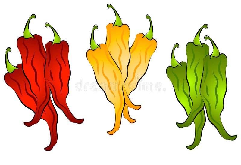 2 varma peppar för konstchiligem stock illustrationer