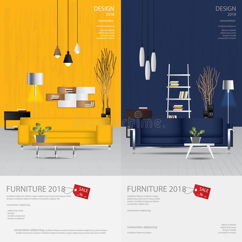 Free 2 Vertical Banner Furniture Sale Design Template Stock Images - 124229844