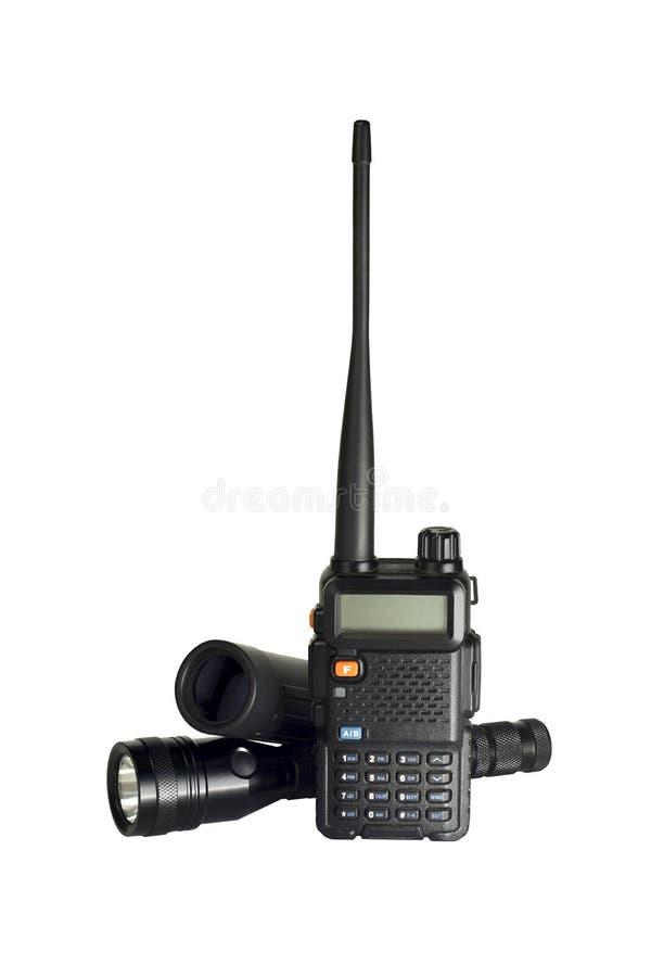 Free 2-way Radio Isolated With Flashlight And Monocular Stock Photography - 52804502