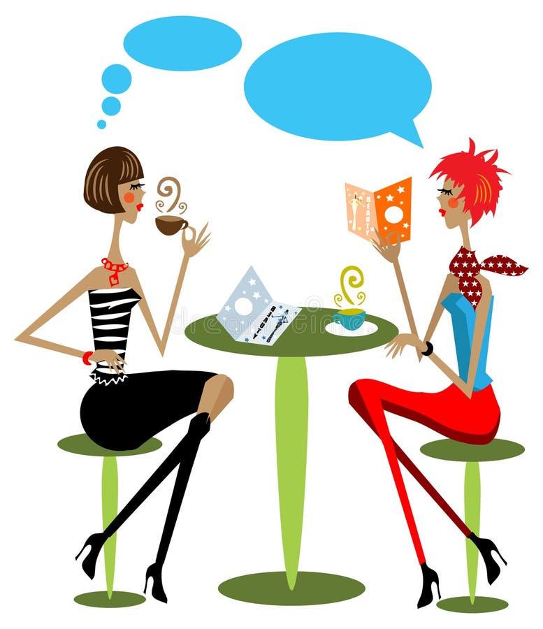 2 woman drink coffee, talking royalty free illustration
