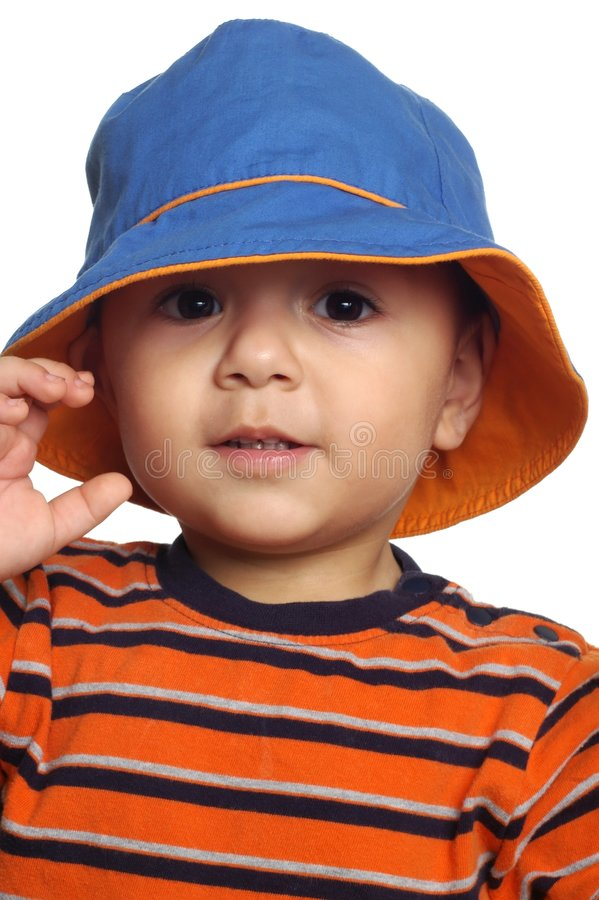 2 Year Old Boy With Hat Stock Photo