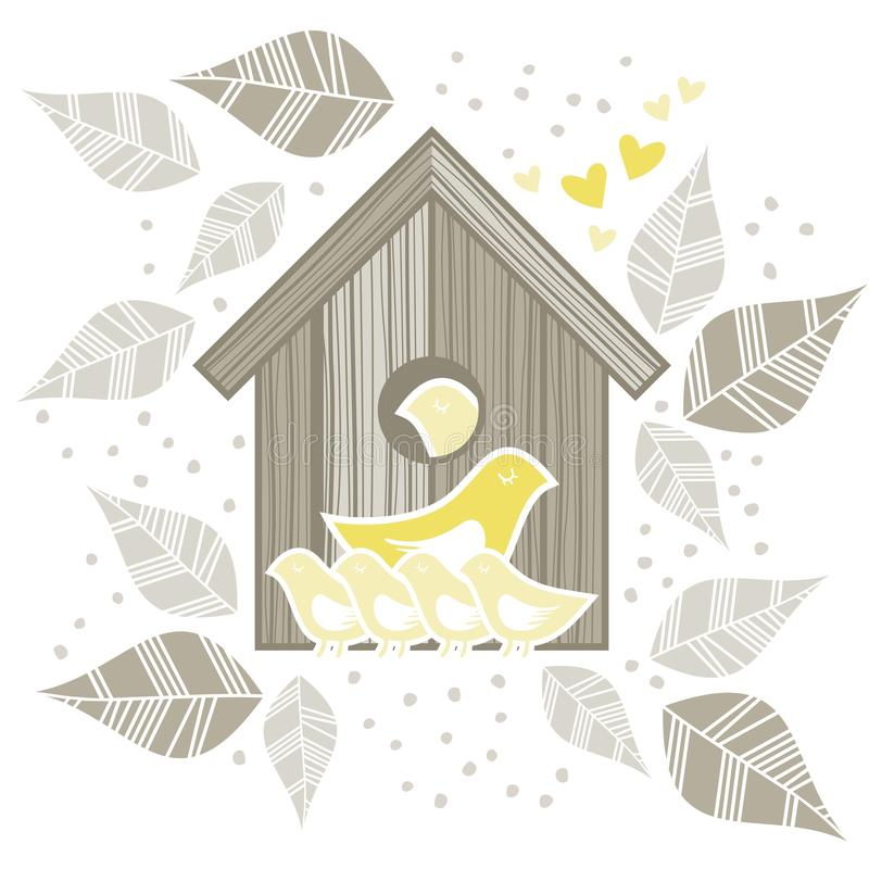 Free 2 Yellow Birds With Kids In Front Of Wooden Bird Royalty Free Stock Photography - 30369647