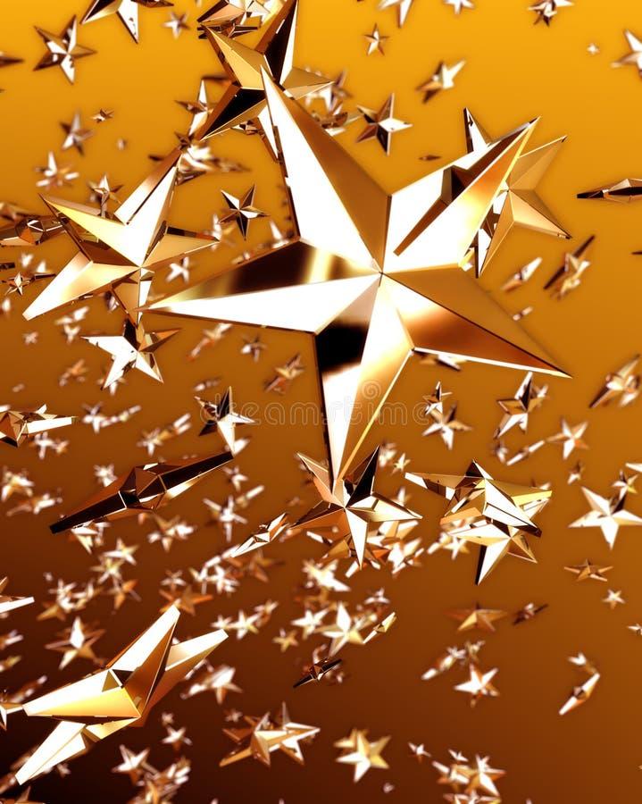 2 złota gwiazda royalty ilustracja