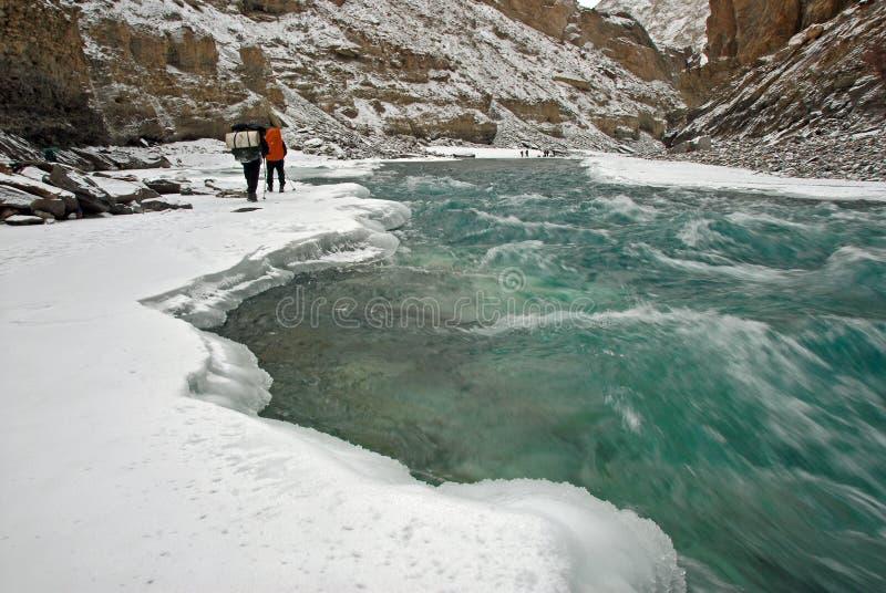 2 zanskar冻结的河 免版税库存照片