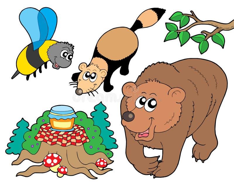 2 zbierania zwierząt lasu royalty ilustracja