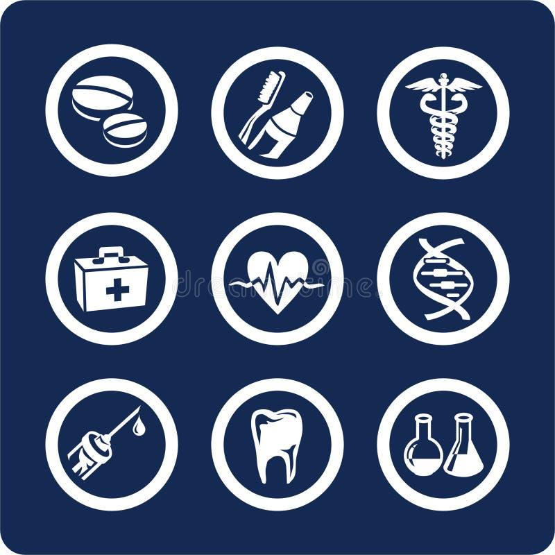 2 zdrowia 6 ikon części zestaw leków royalty ilustracja
