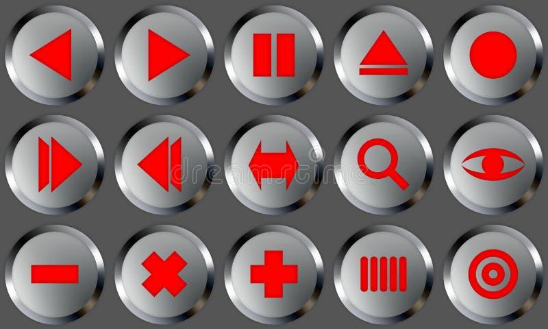 2 zestaw guzików metali ilustracji