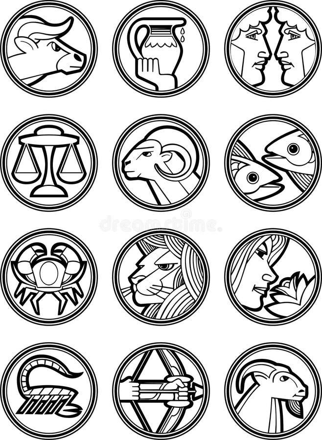 2 znaka grać główna rolę wektorowego zodiaka royalty ilustracja
