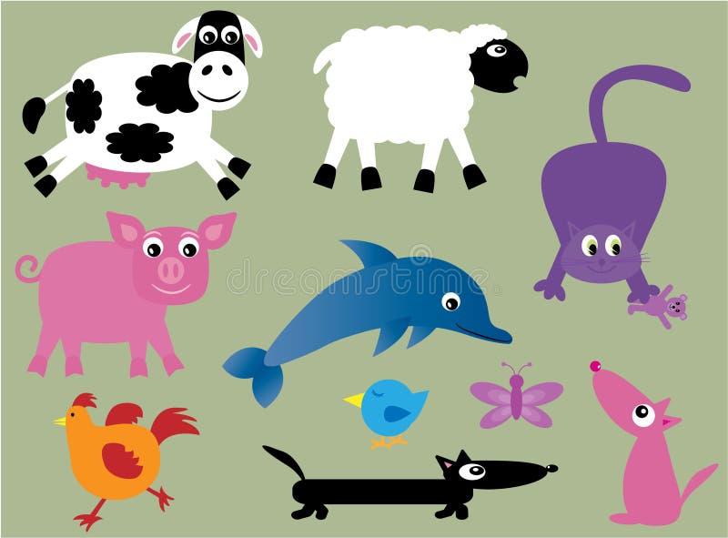2 zwierząt kolekcja śliczna ilustracji