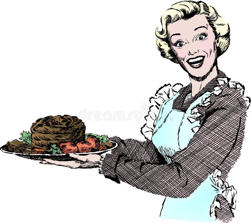 20世纪50年代正餐服务葡萄酒妇女 皇族释放例证