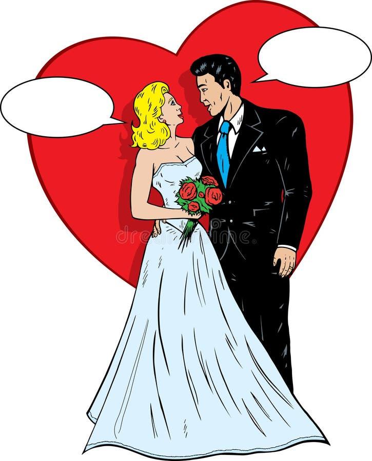 20世纪50年代登记可笑的婚礼 皇族释放例证