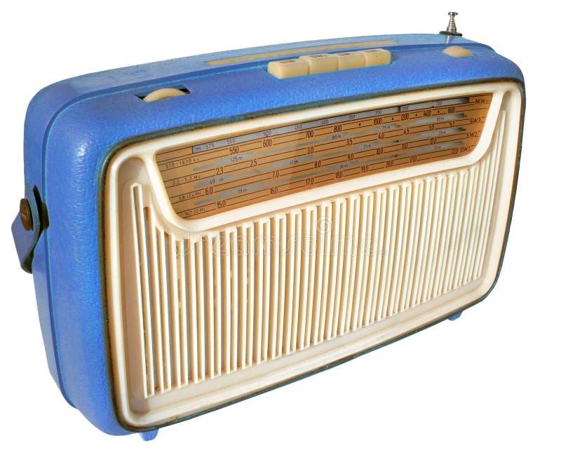 20世纪60年代蓝色收音机 库存图片