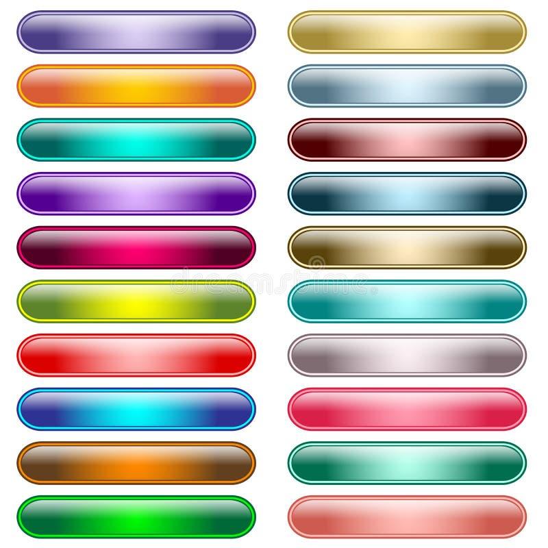 20个被分类的按钮颜色发光的万维网 向量例证