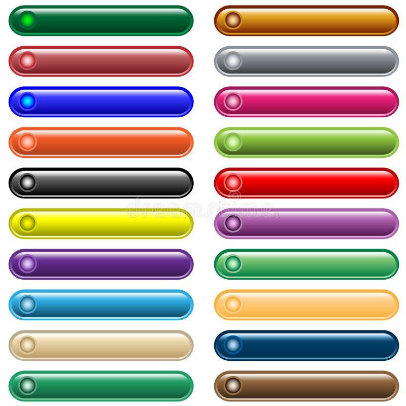 20个被分类的按钮颜色发光的万维网 皇族释放例证