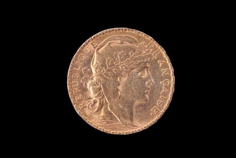 20古老硬币法郎法国金正面 库存照片