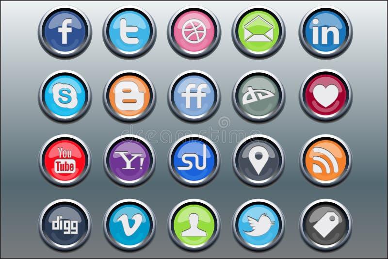 20 ícones sociais dos media inserir de prata ilustração do vetor