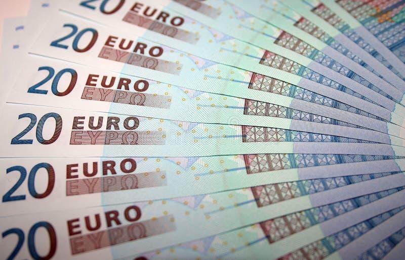 20 примечаний евро Стоковые Фотографии RF