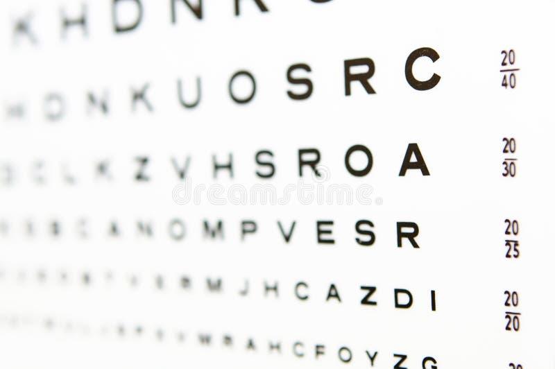 20/20 Augendiagrammprüfung A im Fokus lizenzfreies stockbild