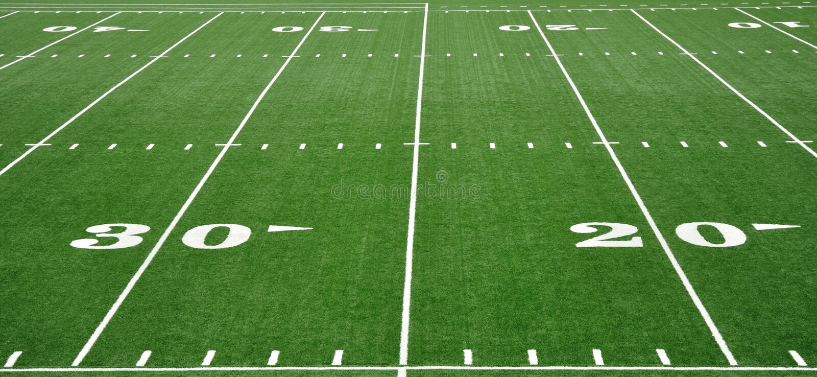 20 & 30 Yard Line on American Football Field royalty free stock photography