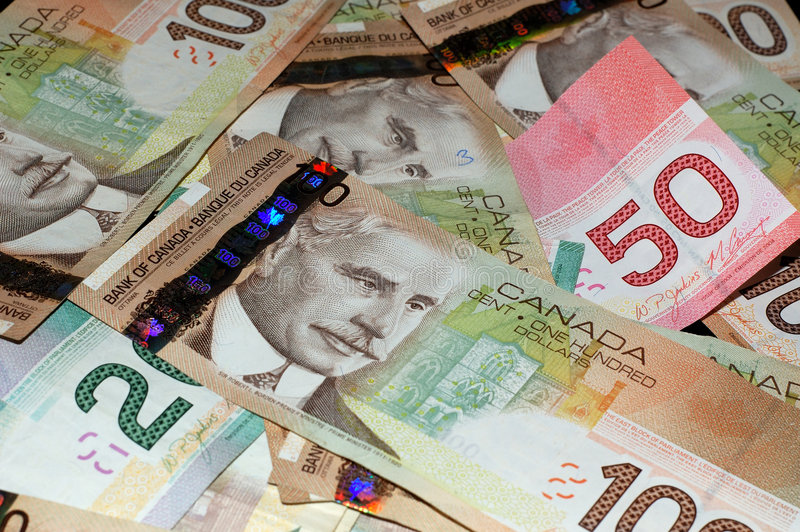 20 50 100 λογαριασμοί Καναδός στοκ εικόνα με δικαίωμα ελεύθερης χρήσης