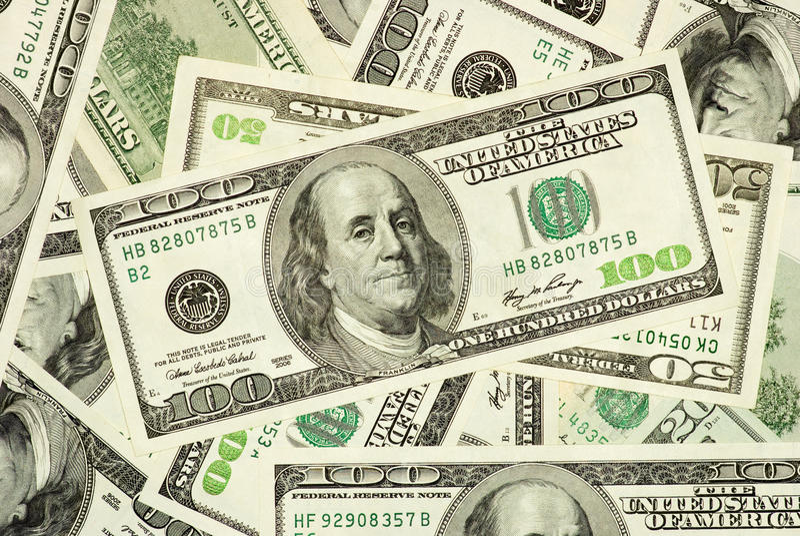 20 50 100 amerykański rachunków pieniądze zdjęcia royalty free