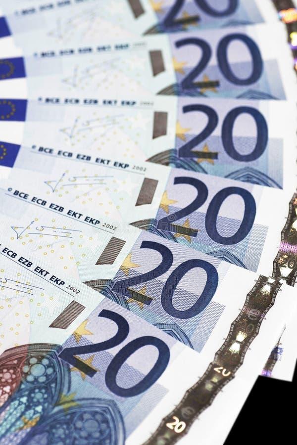 20 anmärkningar för detaljeuropengar arkivfoto