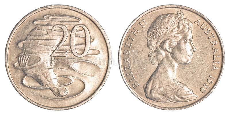 20 australian cents coin. Isolated on white background stock image