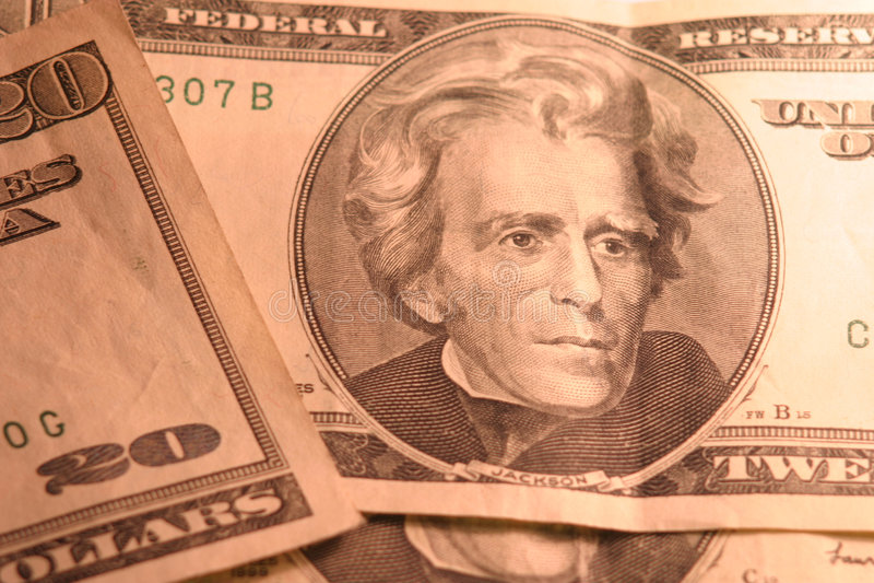 20 Dollar Bills stock photo