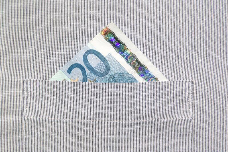 20 Euro in buttonhole royalty free stock photos