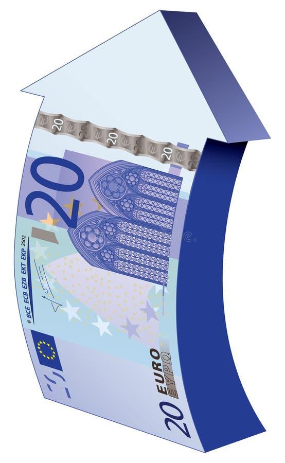 20 Euro en op pijl royalty-vrije illustratie