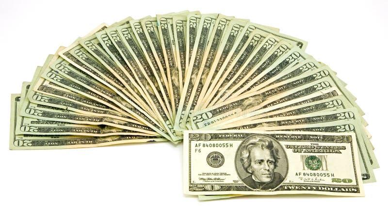 20 fatture del dollaro US fotografia stock