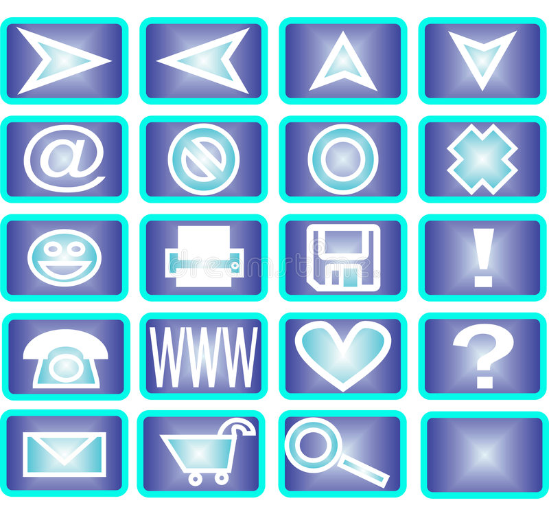20 iconos azules stock de ilustración