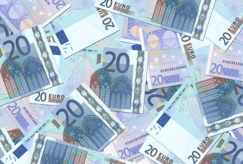 20 konsystencja euro notatek. fotografia stock