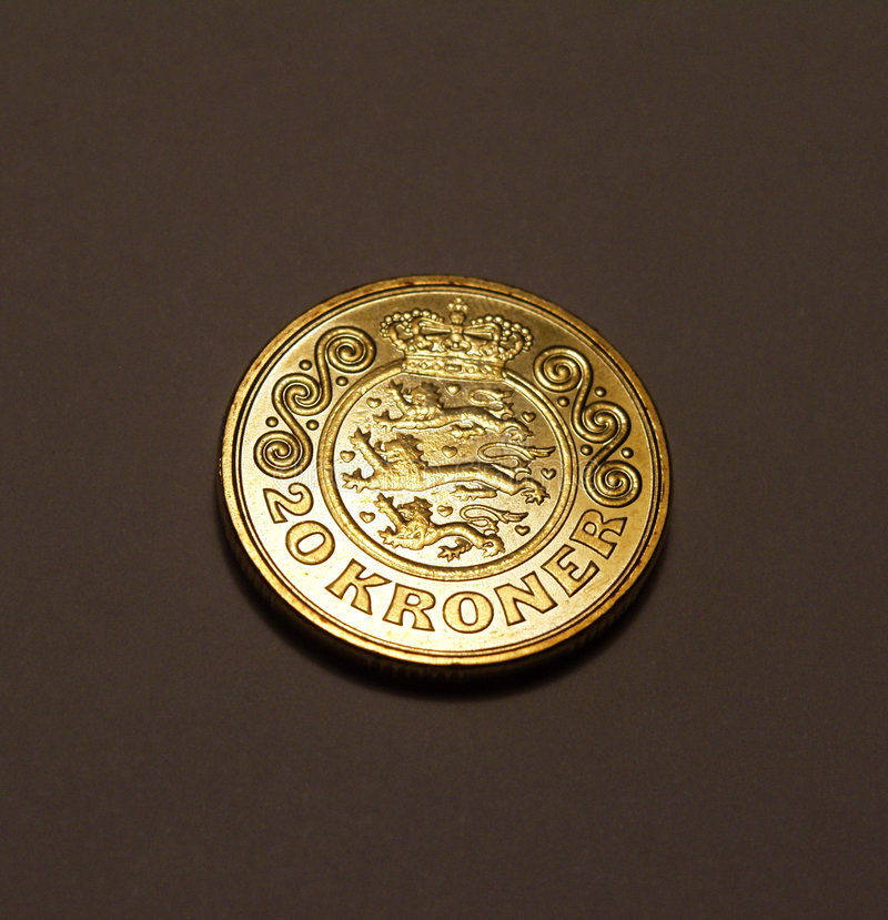20 kroner coin stock photography