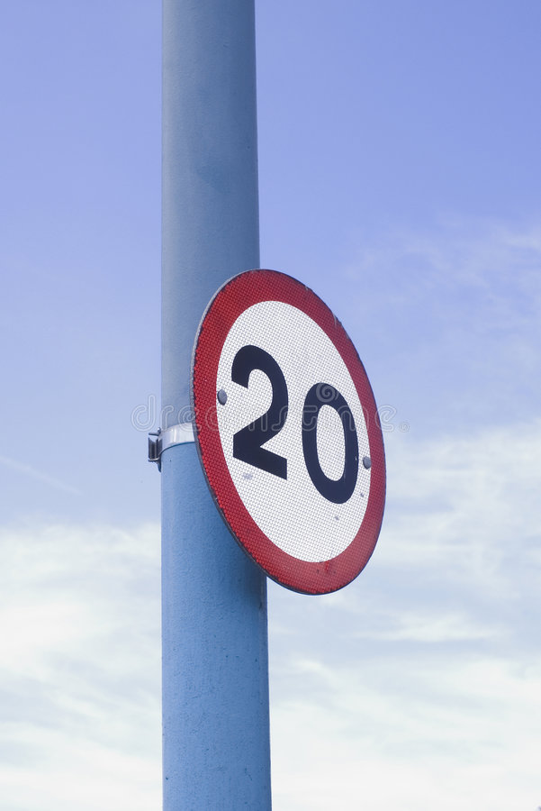 20 mph speed limit sign stock photo
