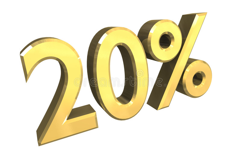 Download 20 percent in gold (3D) stock illustration. Image of payment - 3515413