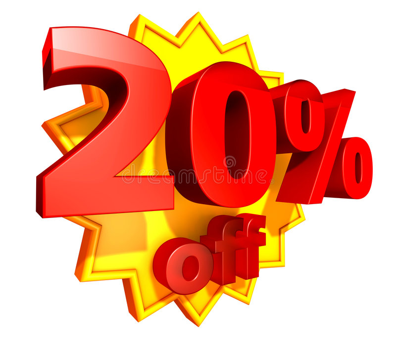 20 percent price off discount. Sign for 20 per cent off in red ciphers at a yellow star on a white background