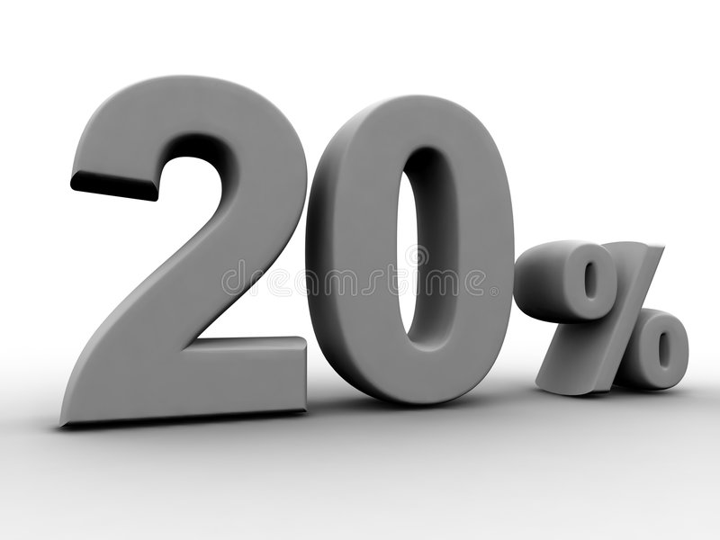 20 procent royaltyfri illustrationer