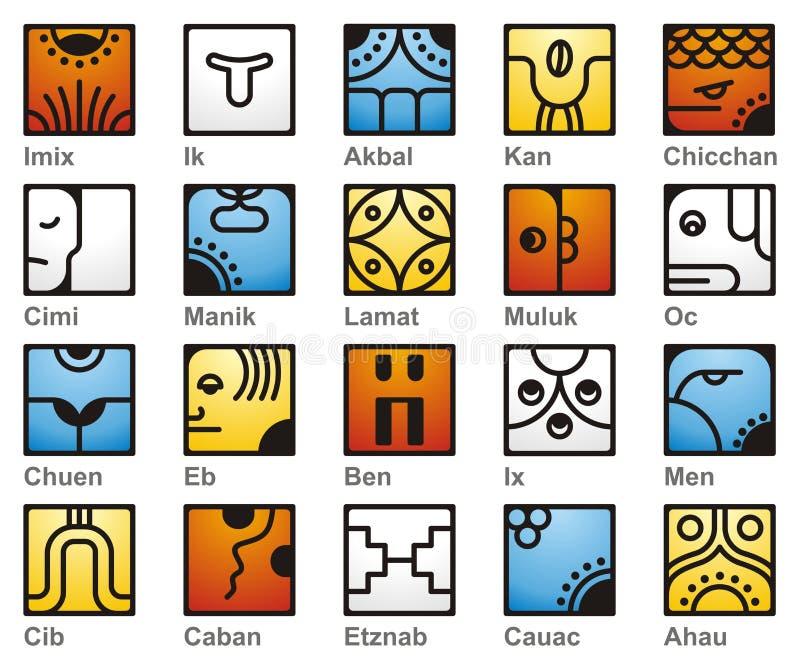 20 sol- mayan seales för kalender stock illustrationer