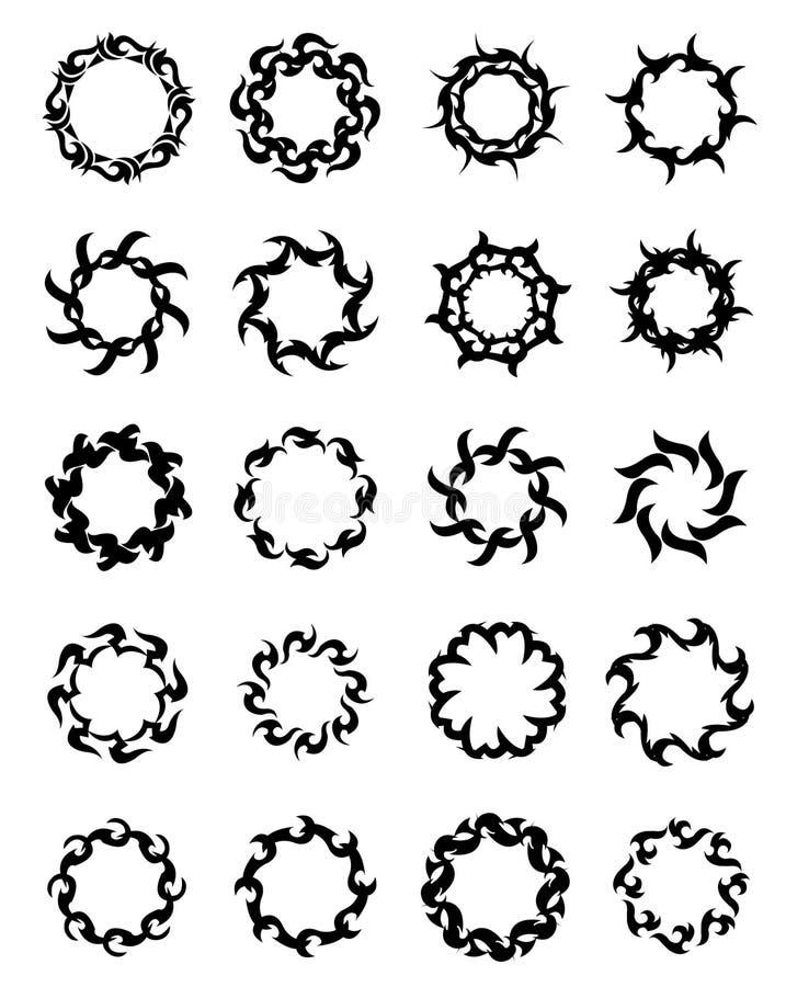 20 tribals réglés de tatouage photographie stock